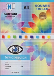Exercise Book Kartasi Brand A4 Squared 96 pages